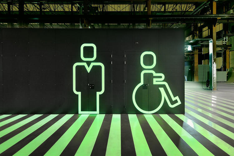 <p>On the ground floor, glow-in-the-dark paint points towards bathrooms and the like.</p>
