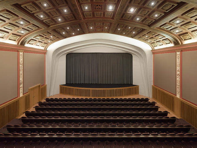 <p>The main hall's speakers are hidden to recall the early days of cinema, before sound and talkies.</p>