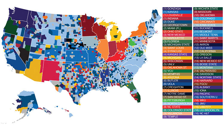 <p>Here's a comprehensive map of March Madness fandom, based on Facebook data.</p>