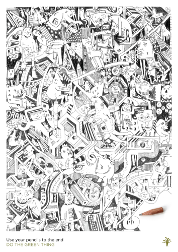 "<p>Illustrator Mr. Guil wanted to create a poster that inspired people to use things up to the very end--and so, logically, he did so by using a pencil right to the end.</p>  <p>""I have always wondered why people don't use pencils to the very end. This piece, made with one pencil, is influenced by the visual image of pencils revolving around my creatures combined with abstract forms and structures."" <strong><a href=&quot;http://dothegreenthing.tumblr.com/post/45823817928/guillaumecornet&quot; target=&quot;_blank&quot;>Read more. </a></strong></p>"