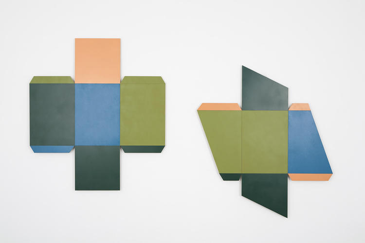 <p>Her wall-hung pieces show boxes in their natural, unfolded state.</p>