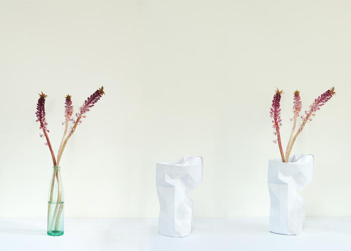 <p>So what you need is Pepe Heykoop's simple paper sleeve. It turns any medium-sized bottle into a neat little geometric vase.</p>