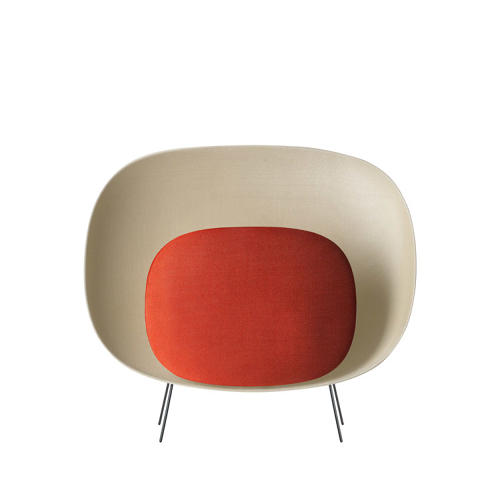 <p>The shell is pliable to the touch, and the prismatic upholstery allows light to gently glow into the room.</p>
