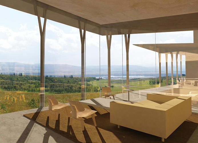 <p>Huge spans of frameless glass maximize views without significantly upping energy usage.</p>