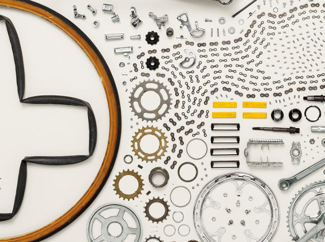 <p>An up-close look at the many bike parts.</p>