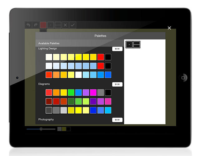 <p>The &quot;Palettes&quot; mode gives users 17 color options to work with while in &quot;Trace&quot; that were developed in collaboration with several world-renowned graphic designers.</p>