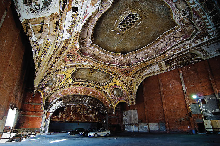<p>The majestic Michigan Theater, in Detroit, has been converted into a parking structure.</p>