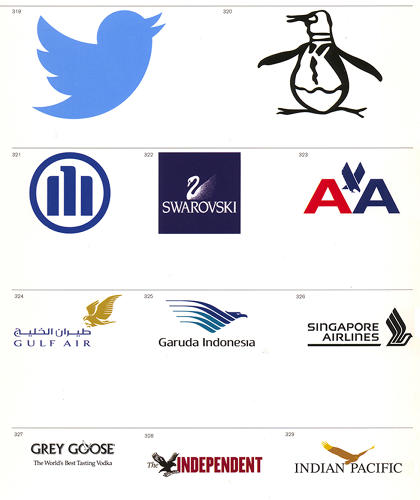 <p>&quot;There is great diversity and even disparity in the meanings attached to birds and their individual species,&quot; Mollerup writes. &quot;Their association with flight means that they are often used to represent physical flight and flight of thought. In addition, since ancient times they have symbolized political power.&quot; From top, left to right: Twitter, Munsingwear, Allianz, Swarovski, American Airlines (the Vignelli original), Bahrain, Garuda Indonesia (airlines), Singapore Airlines, Grey Goose, <em>The Independent</em>, Great Southern Rail, Australia</p>