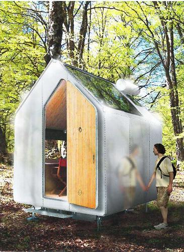 <p>The Diogene is a portable wooden hut, with a floor plan that measures about 8 by 10 feet across. It has just enough space for a bed and a chair, and like some new versions of micro-apartments in urban areas, it employs tricks like folding tables into the wall.</p>