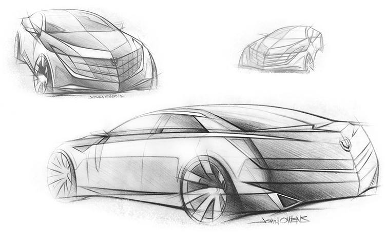 <p>But Cadillac still needed something smaller and more agile. What they created was the Cadillac ATS--here's an early development sketch.</p>