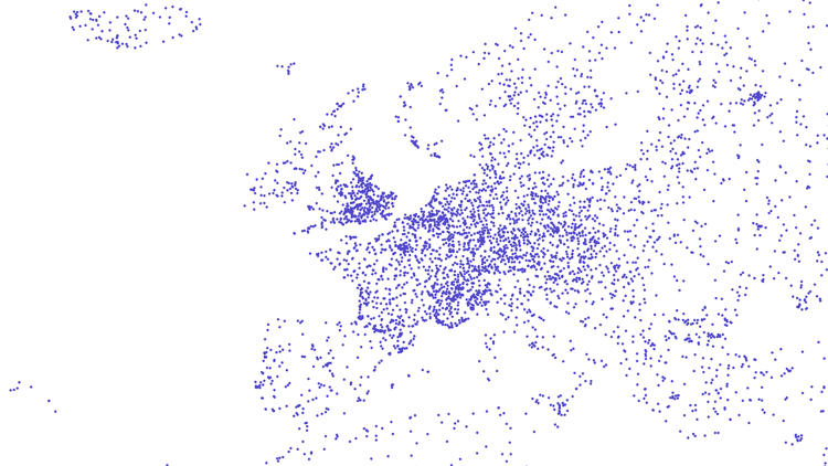 <p>Europe appears as dense as the U.S., though it looks more like a grid than our almost neural structure.</p>