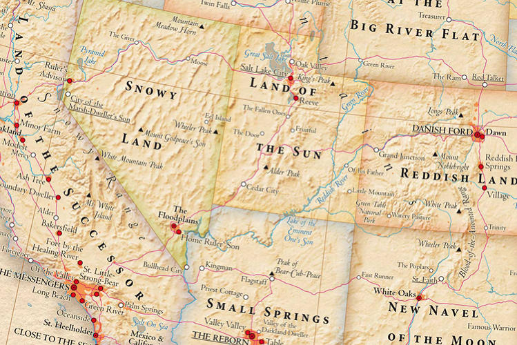 <p>The West is mostly a list of geographical descriptions--though in the Southwest we get a peak at New Mexico's &quot;New Navel of the Moon&quot;--so naturally Mexico means the same thing, minus the &quot;new&quot; on it.</p>