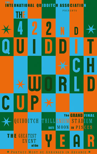<p>An advert for the Quidditch World Cup incorporates retro graphics seemingly inspired by Eames-era design.</p>