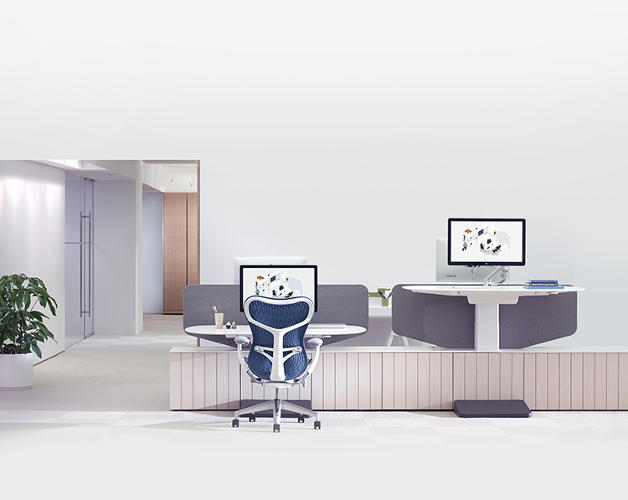 Workstations designed for collaboration modeled on for Office design herman miller