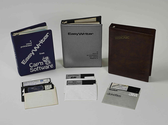 <p>Christie's intentionally included non-tech items at a more accessible price, like these software books and floppy discs from 1980.</p>