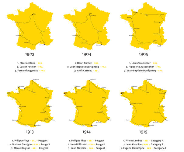 <p>To celebrate the 100th anniversary of the Tour de France, designer <a href=&quot;http://www.sampottsinc.com/&quot; target=&quot;_blank&quot;>Sam Potts</a> created a poster-sized chart that maps the evolution of the race.</p>