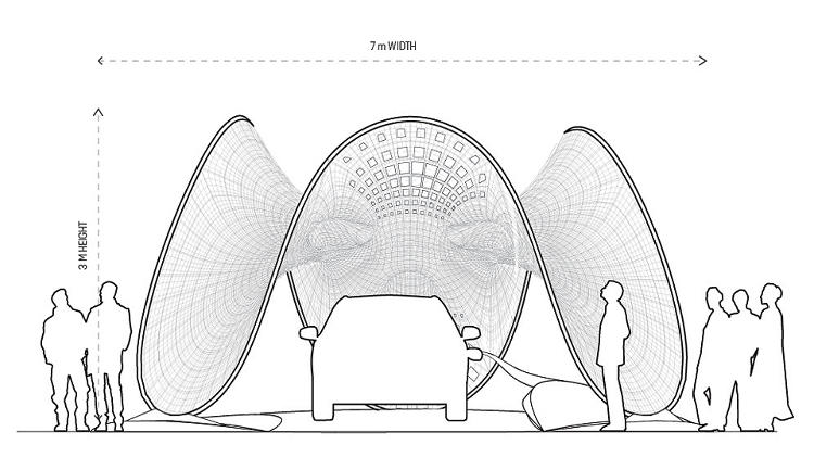 <p>The pavilion features a high-tech mesh integrated with solar panels. It's stretched across a bent aluminum frame.</p>