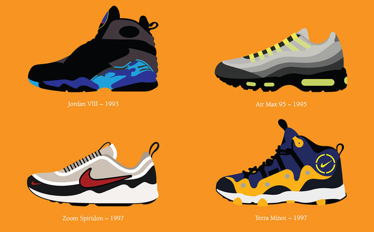 <p>The posters chart how Nike design has shape-shifted over the years, from the cleaner lines of the '70s to the more complex silhouettes of the '90s.</p>