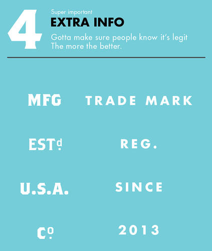 <p>4. Then there's the &quot;extra info,&quot; qualifying  terms like &quot;Trade Mark&quot; and &quot;Established&quot; that state how long you've been hawking your wares.</p>