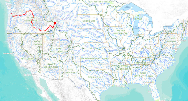 <p>Streams that start fairly close to each other can head in entirely opposite directions. This one begins at the Rocky Mountains and drains toward the west…</p>