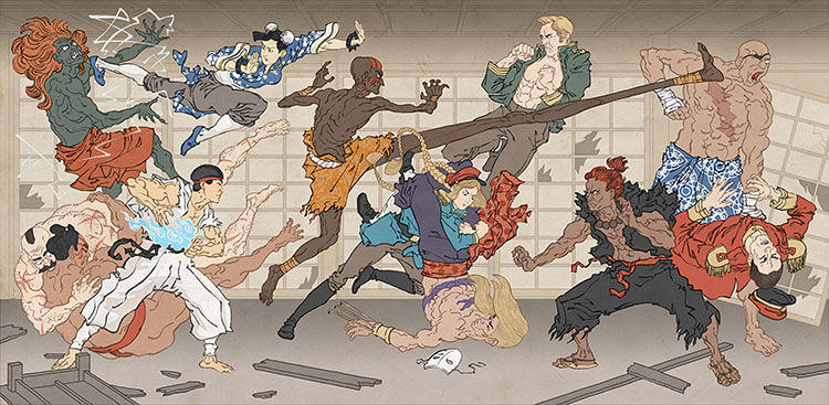 <p><em>Battle of the Bath House</em>, an homage to Capcom's <em>Street Fighter</em> games.</p>