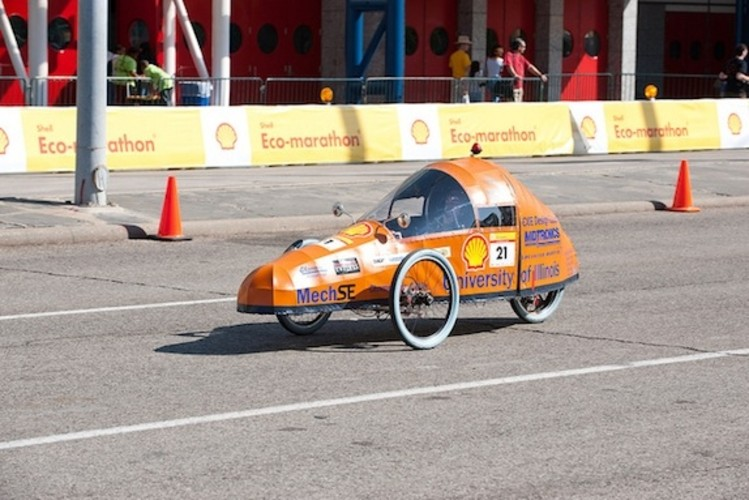 <p>The University of Illinois's vehicle, appropriately named &quot;Orange Thunder,&quot; achieved 894 mpg on the Houston course.</p>