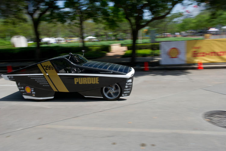 <p>Purdue University's solar vehicle, Celeritas, achieved a 261 mpg equivalent.</p>