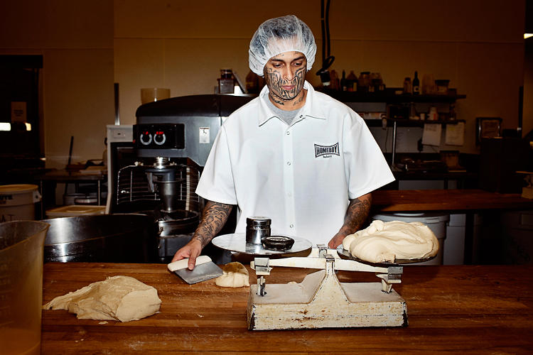 <p>Noe Cruz used to be a gang member. Today he works at Homeboy's bakery.</p>