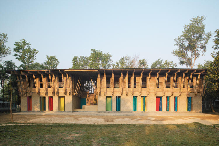 <p>This school--designed by <a href=&quot;http://www.publicinterestdesign.org/tag/anna-heringer-eike-roswag/&quot; target=&quot;_blank&quot;>Anna Heringer and Eike Roswag</a>--is made of local materials (earth and bamboo) and is laid out in a series of caves, designed to be places for the children to gather. The second floor is made entirely of bamboo.</p>