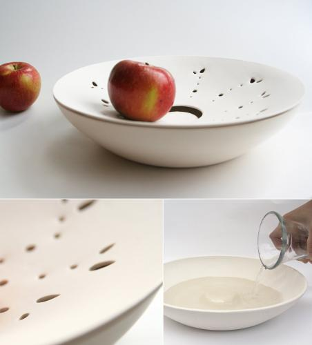 <p>One of the big problems with the fridge is how dry it gets in there. Fruit likes moisture. This bowl with water on the bottom will help your fruit last longer (though, obviously, don't put anything in there with that apple).</p>