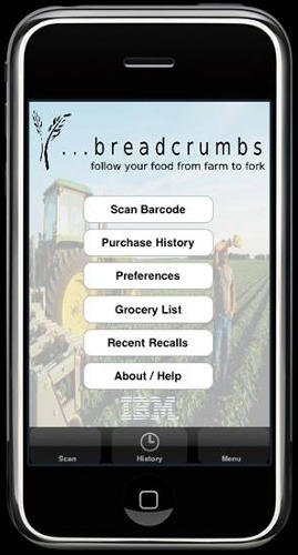 <p>In 2009, IBM unveiled a concept for an app that would allow consumers to track where the food they were about to buy at their local grocer had been. Using a phone's camera to scan an item's barcode, the <a href=&quot;http://www.readwriteweb.com/archives/ibm_debuts_food_traceability_iphone_app.php&quot; target=&quot;_blank&quot;>Breadcrumbs app</a> would offer shoppers information about nutrition facts, when something was made, and if the product has been linked to any recalls. Recall information, in particular, is publicly available but not always widely distributed, so it offers consumers up-to-the-minute data on food safety.</p>