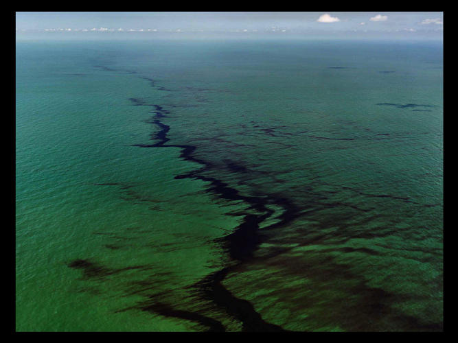 <p>An oil spill in Mexico.</p>
