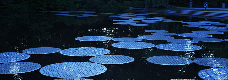 <p>The full installation was created with 65,000 CDs, making 100 of these large lily pads.</p>