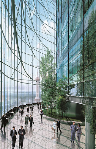 <p>The building's sustainable features include a double-skin façade, wind turbines, and a cogeneration system.</p>