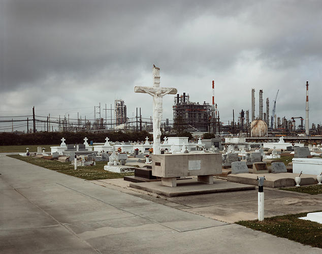 <p>Holy Rosary Cemetery and Dow Chemical Corporation (Union Carbide Complex), Taft, Louisiana, 1998. © Richard Misrach, courtesy of Pace/MacGill Gallery, New York; Fraenkel Gallery, San Francisco; and Marc Selwyn Gallery, Los Angeles.</p>