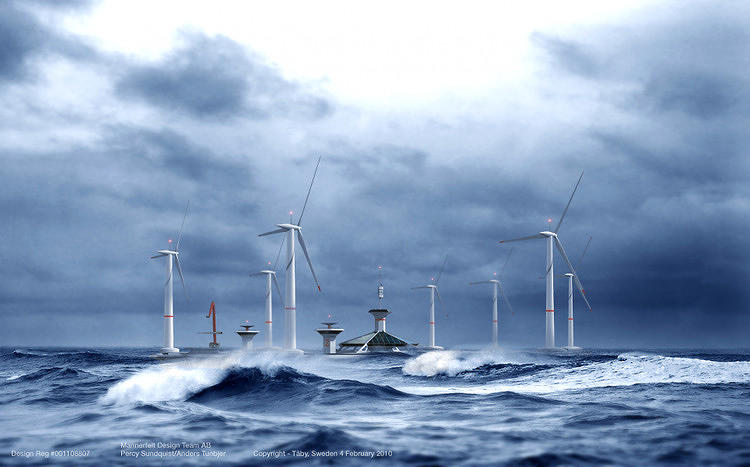 <p>Installing wind turbines in deep, turbulent seas is a laborious and expensive project. Here's an idea: <a href=&quot;http://www.fastcoexist.com/1679398/a-floating-wind-farm-a-floating-wind-farm&quot; target=&quot;_self&quot;>Put them on a boat.</a></p>
