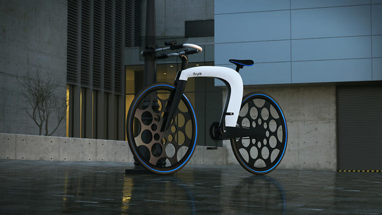 <p>To transport stuff, the bike comes with a retractable pocket that slides between the bike's metal plates.</p>