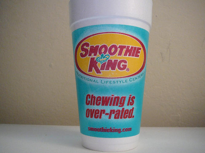 <p>Peanut Power Plus Grape Smoothie<br /> Smoothie King <br /> Calories: 1,460<br /> Added sugar: 22 teaspoons (plus 17 <em>more</em> teaspoons of sugar from the grape juice).</p>  <p>Photo by: <a href=&quot;http://www.flickr.com/photos/cups/2627064024/sizes/o/in/photostream/&quot; target=&quot;_blank&quot;>Majiscup</a></p>