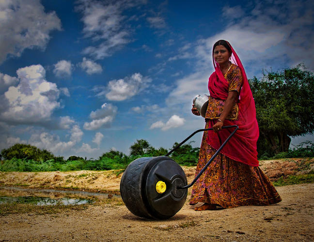 <p>Wello's WaterWheel 2.0, which Catapult re-designed earlier this year in India. The new design holds 50 liters of water (which weighs 55 kilograms when it's filled) and is currently in field trials in Rajasthan, India.</p>