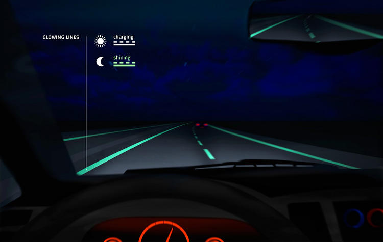 <p>The lane lines glow in the dark and can be altered to change traffic patterns.</p>