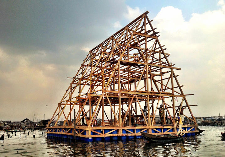 <p>Kunlé Adeyemi, a Nigerian-born architect who now lives in Holland, designed this floating school for the Makoko settlement in Lagos.</p>