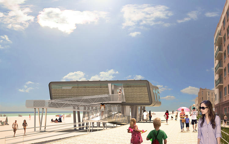 <p>Garrison Architects has created a plan to introduce net-zero energy, flood-resistant, modular structures along the beaches of Coney Island, Staten Island, and Rockaway Beach.</p>