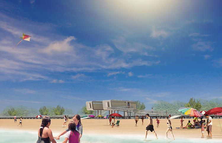 <p>The new structures will be constructed in a factory offsite, and later installed into site-specific support structures and access ramps on the beaches. Relying on quick-to-install modular structures in the future might serve as the foundation for the reconstruction of whole neighborhoods (as opposed to throwaway, temporary trailers).</p>