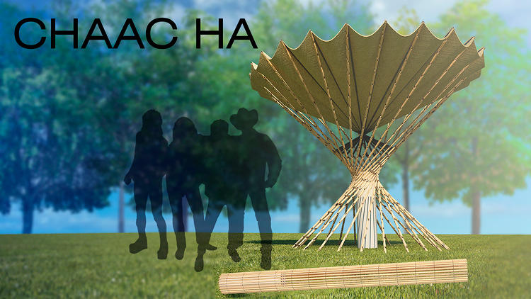 <p>Inspired by spider webs, the Chaac-ha is a piece of Teflon cloth draped over a supporting structure, with a tank to collect liquid underneath. It can gather five pints of water a night.</p>