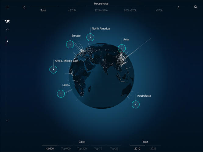 <p>Urban World leverages the McKinsey Global Institute's database of over 2,600 cities to illustrate how the population, income levels, and GDP of cities will change by 2025.</p>