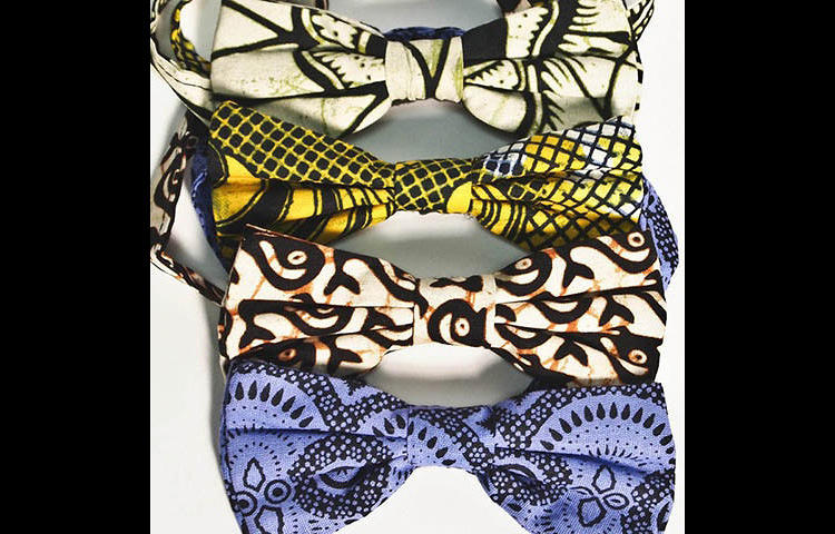 <p>Bowties sewn by women in rural Kenya.</p>