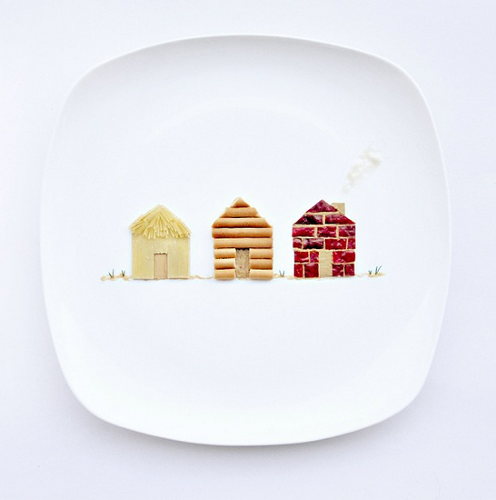 <p>Artist Hong Yi spent a month making art out of food. Here are some of her compositions and captions: &quot;Day 15: Guess who stay in these three little houses? House 1 made of angel hair pasta, house 2 biscuit sticks, house 3 dried chilli. Stuck together with peanut butter. Dill for grass.&quot;</p>
