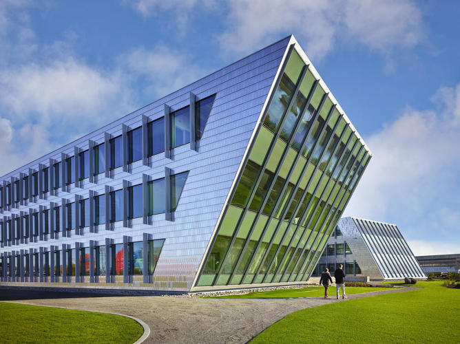 <p>Some of the highlights: a rainwater collection system that will harvest 430,000 gallons of water each year, a building envelope outfitted with high-performing glass, and materials derived from a decommissioned WWII warehouse that was formerly on the site.</p>