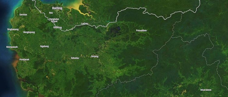 <p>&quot;The island of Borneo is almost always speckled with clouds, and some areas of the highlands may only have a few entirely clear days per year. You can see the effects of deforestation, which has begun on the more accessible coasts and advanced inland. Some of this is for palm oil plantations, and puts severe pressure on orangutan habitat.&quot;</p>