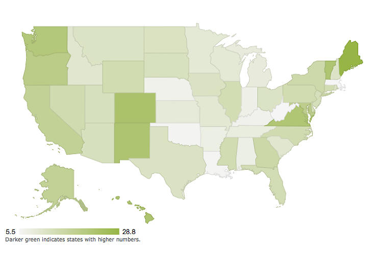 <p>LEED projects by state.</p>